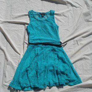 Teal lace mini summer dress